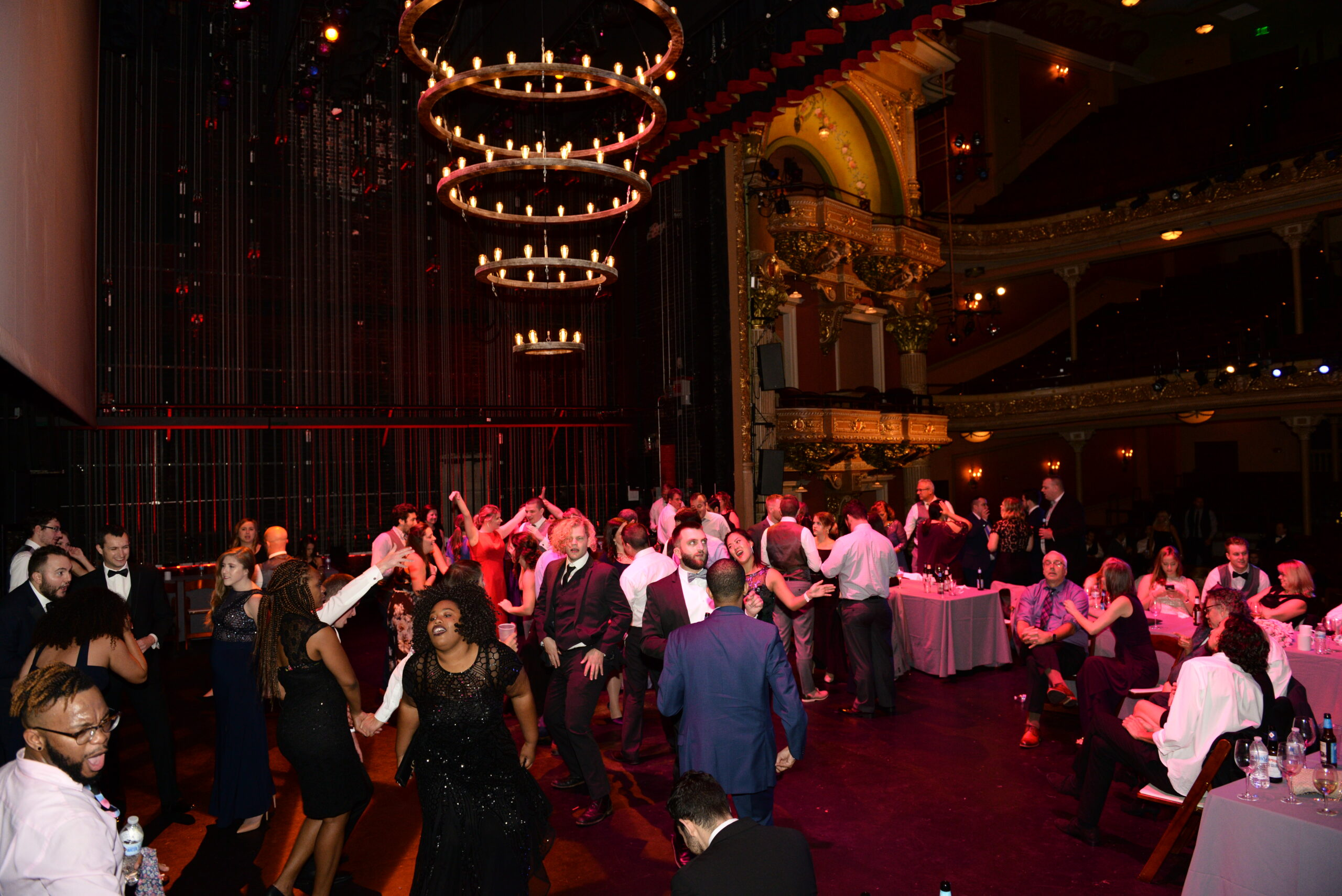 Wedding Dance Floor on stage with balconies in background at The Colonial Theatre